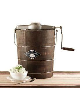 White Mountain 4 Qt Hand Crank Ice Cream Maker Freezer Wooden Bucket