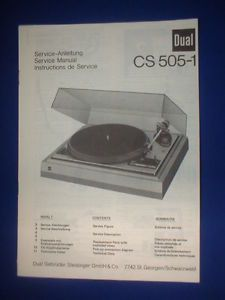 Dual CS505 1 Turntable Service Manual Original Very Good Condition 3 Languages