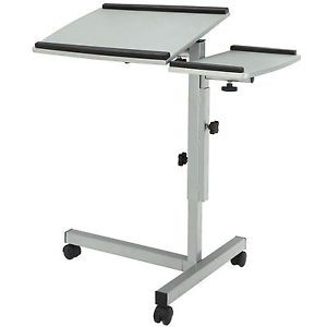 Mobile Laptop Computer Adjustable Height Portable Stand Table Desk w Split Top