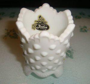 Fenton White Milk Glass Hobnail Toothpick Holder Mark on Botton and Label Inside