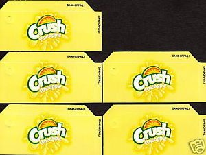 Pineapple Crush Small 5 Same Soda Vending Flavor Labels