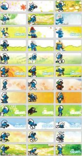 90 Smurfs Personalised Name Stickers Labels Tags