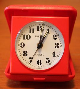 Europa 1 Jewel Travel Alarm Clock Bright Red Case Made in Germany Works Well