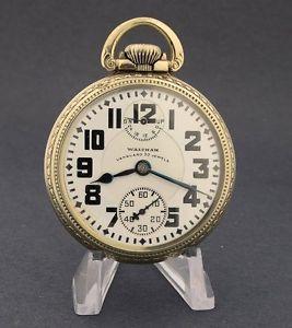 Waltham 23 Jewel Vanguard Indicator Pocket Watch w Gold Filled Locomotive Case