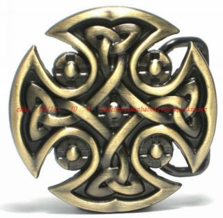 BBU1919L Celtic Trinity Cross Eternity Knot Shield Tribal Tattoo Art Belt Buckle