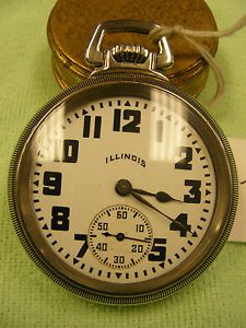 Vintage Illinois 19 Jewel Pocket Watch Running Silveroid Case Lever Set 29L