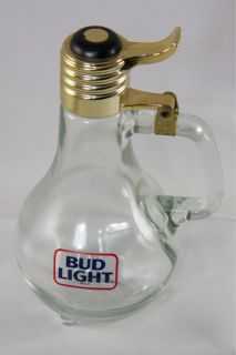 """Bud Light Beer Light Bulb Small Pitcher or Drinking Glass Stein 7 5"""" Vintage"""