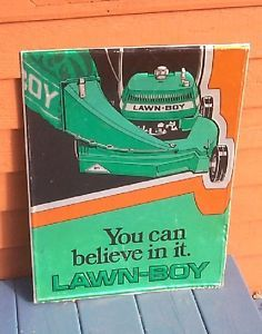 Vintage Lawn Boy Outboard Motor Metal Sign w Lawn Mower Graphic Farm Garden