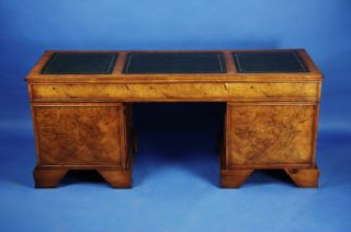 Antique Style English Walnut Credenza Computer Desk