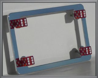 Chrome Motorcycle License Plate Frame Clear Red Dice Bolts Lic Tag Fastener