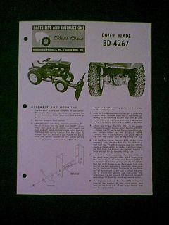 Wheel Horse Dozer Blade BD 4267 Parts Manual