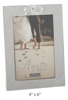 Amore Silverplated Photo Frame Crystal Rings Plain Picture Frame Frames 4x6