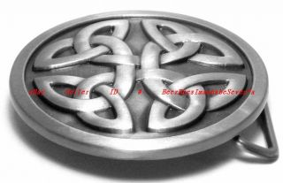 BBG1749 Irish Celtic Knot Round Shield Tribal Tattoo Art Belt Buckle