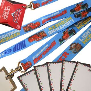 12 Cars Lightning McQueen Disney Birthday Party Favor ID Lanyards w Name Cards