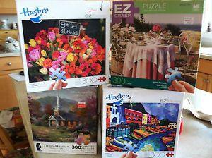 Lot EZ Grasp Large Format Jigsaw Puzzles Complete Thomas Kinkade etc 300 Pieces