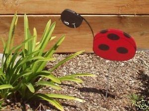 Lady Bug Art Hand Painted Wood Lawn Garden Yard