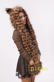 Fashion Animal Faux Fur Hoodie Hat Beanie Scarf Gloves Pockets Gift