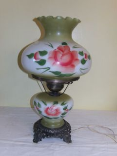 Vintage Green Gone with The Wind Hurricane Lamp with Hand Painted Floral Design