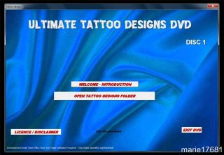 250 000 Tattoo Designs on 2 DVD ROMs Sports Snakes Fantasy Angels Devils etc New