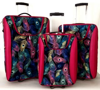 3pc Luggage Set Travel Bag Rolling Wheel Carryon Expandable Upright Peacock Pink