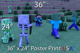 Minecraft PC Xbox Poster Print 36x24 Steve Dual Sword Diamond Creeper USA New