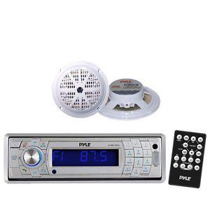 In Dash Marine SD USB Am FM Radio Stereo Wireless Bluetooth 2 White Speakers