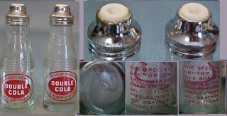 Double Cola Pop Bottle Salt Shakers from Diner Bar CR1940S 50s w Flow Tops VG