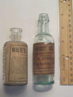 "2 Small Maine ""Vial Size"" Vintage ""Quack"" Medicine Bottles with Original Label"