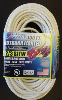 100' 12 Gauge Heavy Duty White Extension Cord w Lighted End