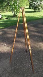 Antique Wood Wooden Camera Tripod Stand Steampunk Industrial Lamp Light Fixture