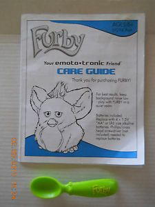 Furby Tiger Electronics 2005 Accessories Spoon and Manual Instructions