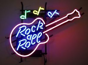 Neon Sign Game or Music Room Rock and Roll Guitar Base Lamp Light Mancave