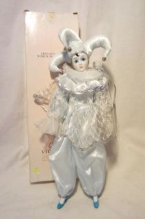 Victoria Impex Harlequin Clown Blue Porcelain Doll