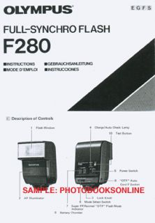 Olympus F280 Flash Instruction Manual English French German Spanish