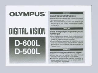 Olympus Digital Vision D 500L D 600L Digital Camera Instruction Manual Original