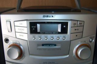 Sony CFD ZW755 Portable CD Cassette Radio Boombox with Detachable Speakers