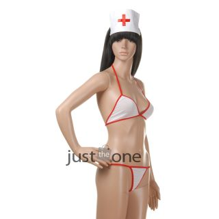 Sexy Wild Girls White Women Nurse Costume Cosplay Bra G String Hat Nightwear