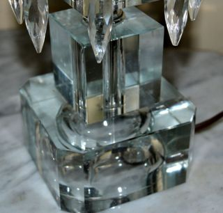 "Art Deco Fine Hand Cut Lead Crystal Hurricane Lamps Prisms 16"" Tall EXC"