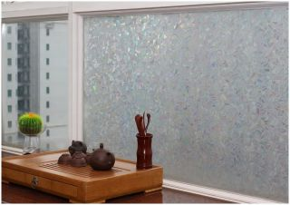 "Decorative Privacy 3D Laser Static Glass Window Film Colorful Ice 35"" GW 007"
