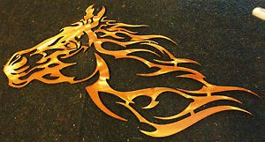 "Plasma Cut Metal Art w Copper Patina ""Horse Head Blaze"""