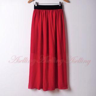 Sexy Lady Bohemia Chiffon Pleated Retro Maxi Long Dress Elastic Waist
