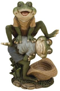 Leap Frog Outdoor Figurine, Multicolored Decorative Garden Statue