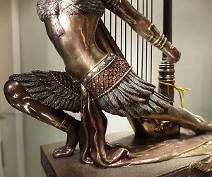 Female with Grand Harp Musical Instrument Statue Sculpture Bronze New $170