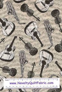 I Love Lucy Lucy's Crowd Music Musical Instrument Notes Novelty Quilt Fabric