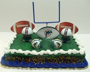 NFL Football Miami Dolphins Birthday Cake Topper Set w Helmets Players More