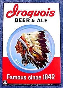 Buffalo NY Iroquois Beer Ale Point of Sale Sign 1950s Era