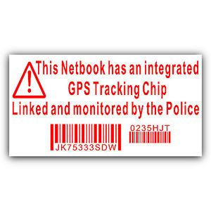 Netbook Computer Security Sticker Fake GPS Police Tracking Sign Dell HP Mac Lock