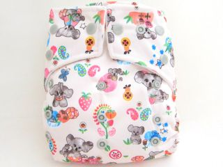 12 Kawaii Baby New Double Layered Fun Print OS Cloth Diapers 24 Large Inserts