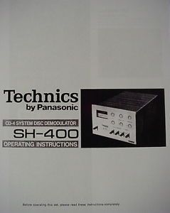 Technics SH 400 CD 4 System Disc Demodulator Operating Instruction Manual 12 Pgs