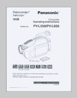Panasonic PV L550 PV L650 VHSC Video Camcorder Instruction Manual Photocopy